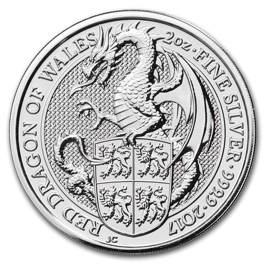 2017 2oz Silver Queen's Beast - The Dragon