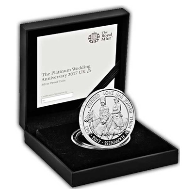 2017 Silver Proof £5 Coin - The Platinium Wedding Anniversary