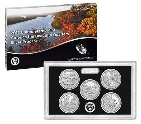 2017 USA America the Beautiful Quarters Silver Proof Set