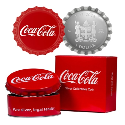 2018 Fiji Silver Proof $1 Coca-Cola Bottle Cap