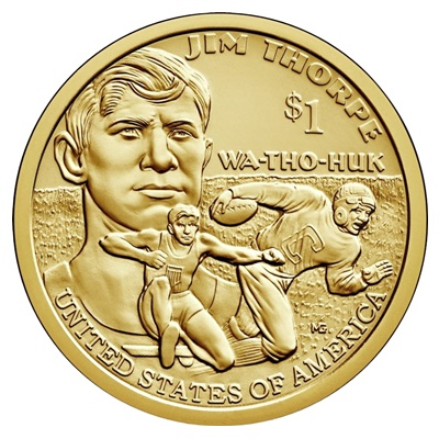2018 Native American $1 Coin - James Francis 'Jim' Thorpe (D)