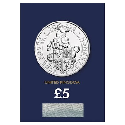 2018 £5 BU Coin (Card) - Queen's Beast - Black Bull of Clarence