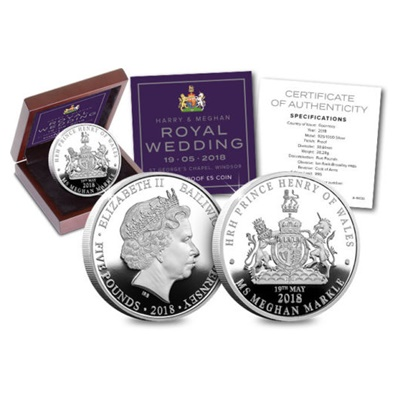 2018 Silver Proof £5 Coin - Harry & Meghan Royal Wedding