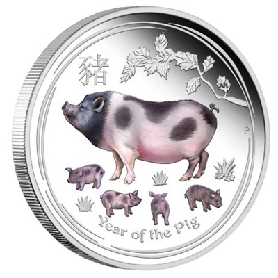 2019 1oz Silver Proof Lunar PIG - Coloured