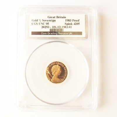 1983 QEII Gold Proof 1/2 SOVEREIGN - CGS UNC 95