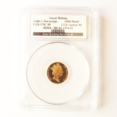 1994 QEII Gold Proof 1/2 SOVEREIGN - CGS UNC 95
