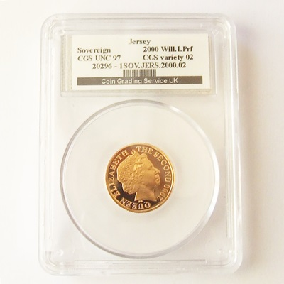 2000 QEII Gold Proof Jersey SOVEREIGN - CGS UNC 97