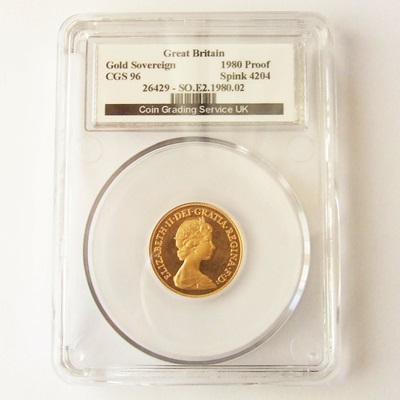 1980 QEII Gold Proof SOVEREIGN - CGS 96