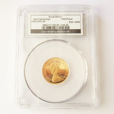 1980 QEII Gold Proof SOVEREIGN - CGS 95