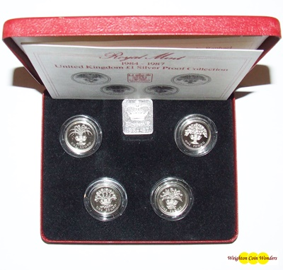 1984 - 1987 Silver Proof £1 Collection (4 x coins)