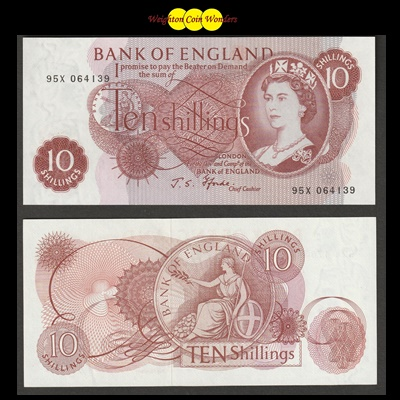 1967 Bank of England Ten Shilling Note (95X)