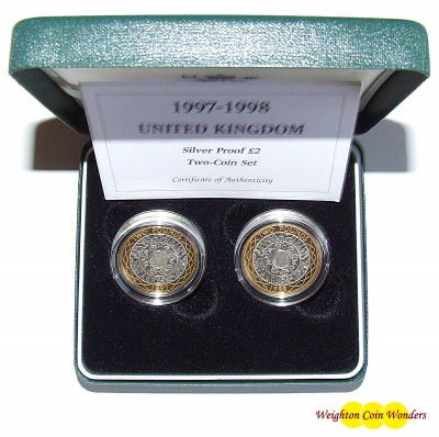 1997 And 1998 Silver Proof 2 Coin Set