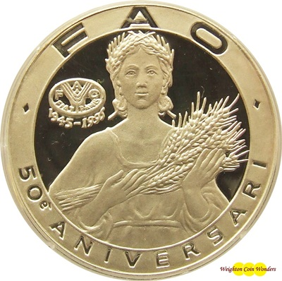 1995 Andorra 10 Dinars Silver Proof Coin - FAO 50th