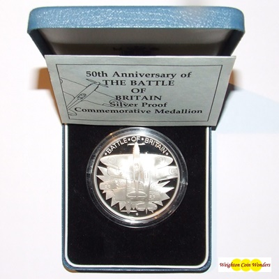 1990 Silver Proof Commemorative Medallion - Battle of Britain