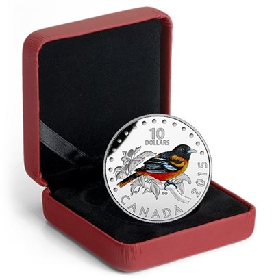 2015 $10 Silver Proof Coloured Coin - The Baltimore Oriole