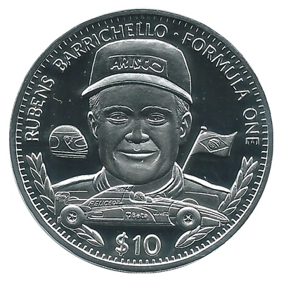 1995 Silver Proof $10 Rubens Barrichello - Formula One
