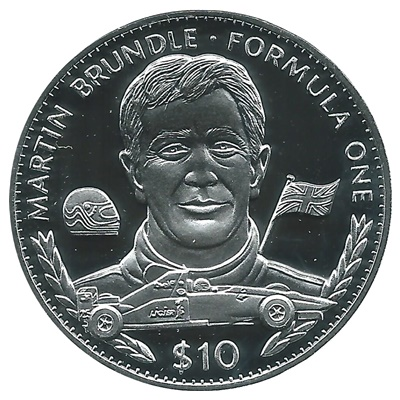 1995 Silver Proof $10 Martin Brundle - Formula One