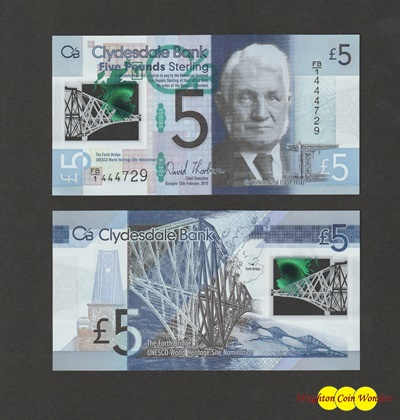 2015 Clydesdale Bank £5 - Scotlands First Polymer (FB1444729)