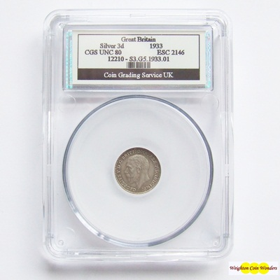 1933 George V Silver 3d - CGS UNC 80