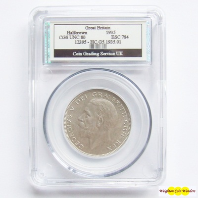 1935 George V Silver HALF CROWN - CGS UNC 80
