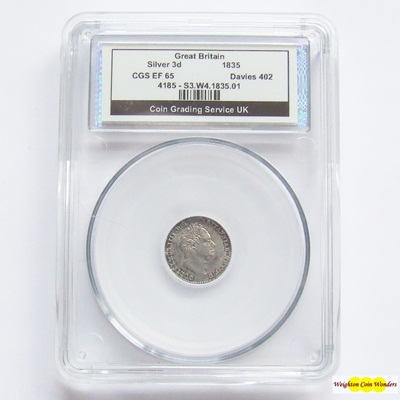 1835 William IV Silver 3d - CGS EF 65