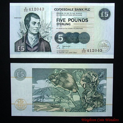 2002 Clydesdale Bank £5