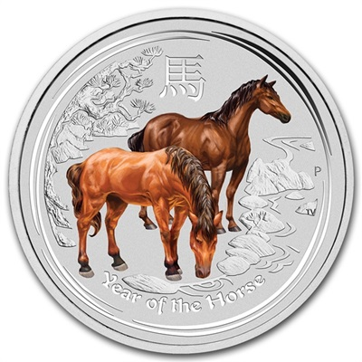 2014 1oz Silver Lunar HORSE - Series II - Coloured