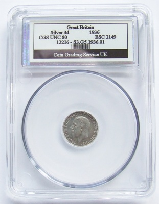 1936 George V Silver 3d - CGS Unc 80