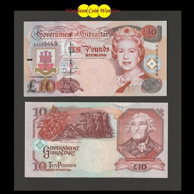 1995 Government of Gibraltar £10 Pound Note