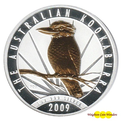 2009 Silver 1oz KOOKABURRA - Gold Highlighted