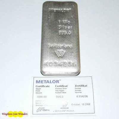1 KILO Silver Bar- METALOR