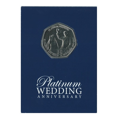 2017 BU 50p Coin (Card) - Platinum Wedding - Newlyweds