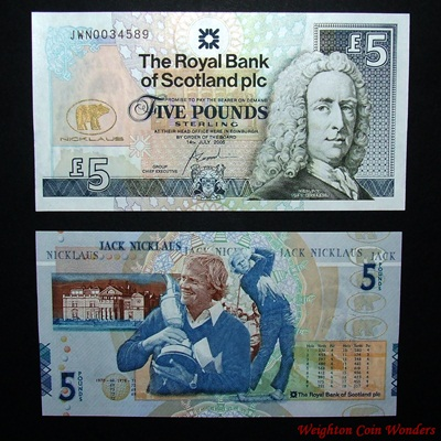 2005 Royal Bank of Scotland Plc £5 – Jack Nicklaus