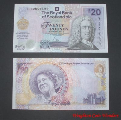 2000 Royal Bank of Scotland Plc £20 – QM 100th Birthday
