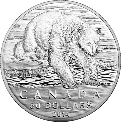 2014 $50 1/2oz Silver Coin - POLAR BEAR