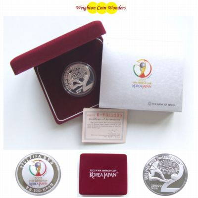 2002 Korea Silver Proof 10,000 Won I - FIFA World Cup