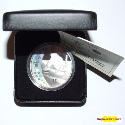 2007 Silver Proof $25 Hologram Coin - Curling