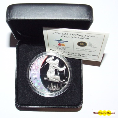 2008 Silver Proof $25 Hologram Coin - Freestyle Skiing