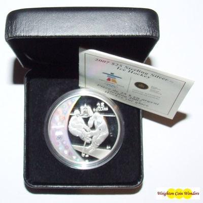 2007 Silver Proof $25 Hologram Coin - Ice Hockey
