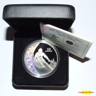 2007 Silver Proof $25 Hologram Coin - Alpine Skiing