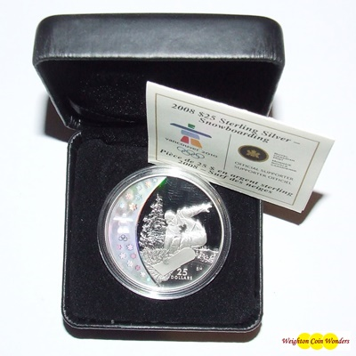 2008 Silver Proof $25 Hologram Coin - Snowboarding
