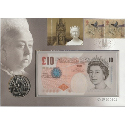2001 £10 Note and Five Pound Coin - Queen Victoria