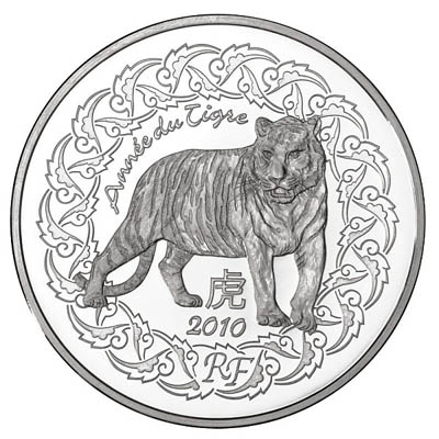 2010 €5 Silver BU - Year of the TIGER