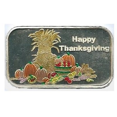 1oz Happy Thanksgiving Enameled Silver Bar
